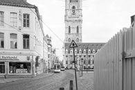Gent: Sint-Baafsplein, hoek Lange Kruisstraat: zicht op Belfort en Lakenhal