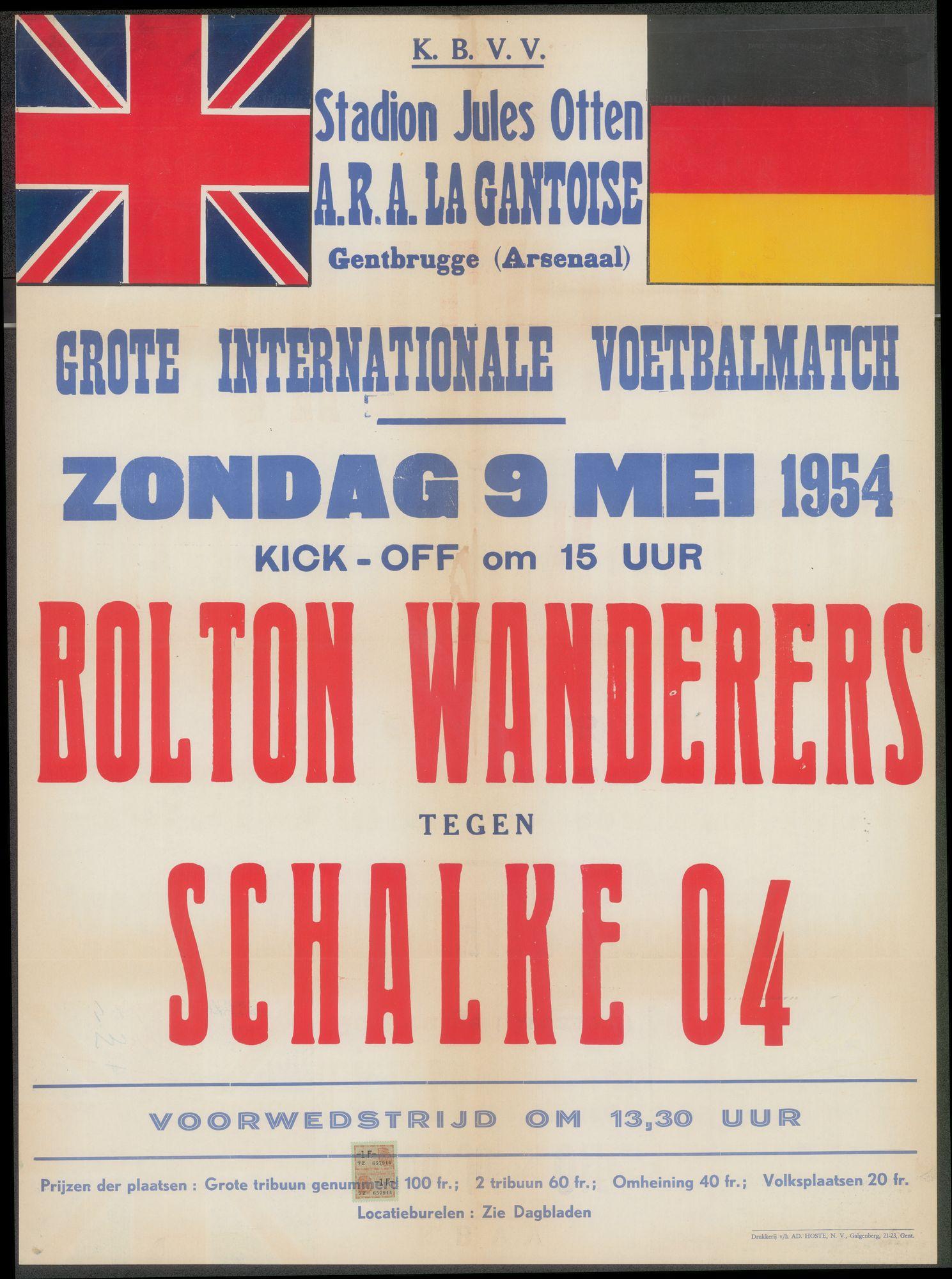 Grote Internationale Voetbalmatch, Bolton Wanderers - Schalke 04, Stadion Jules Otten, A.R.A. LA  Gantoise, Gentbrugge (Arsenaal), zondag 9 mei 1954