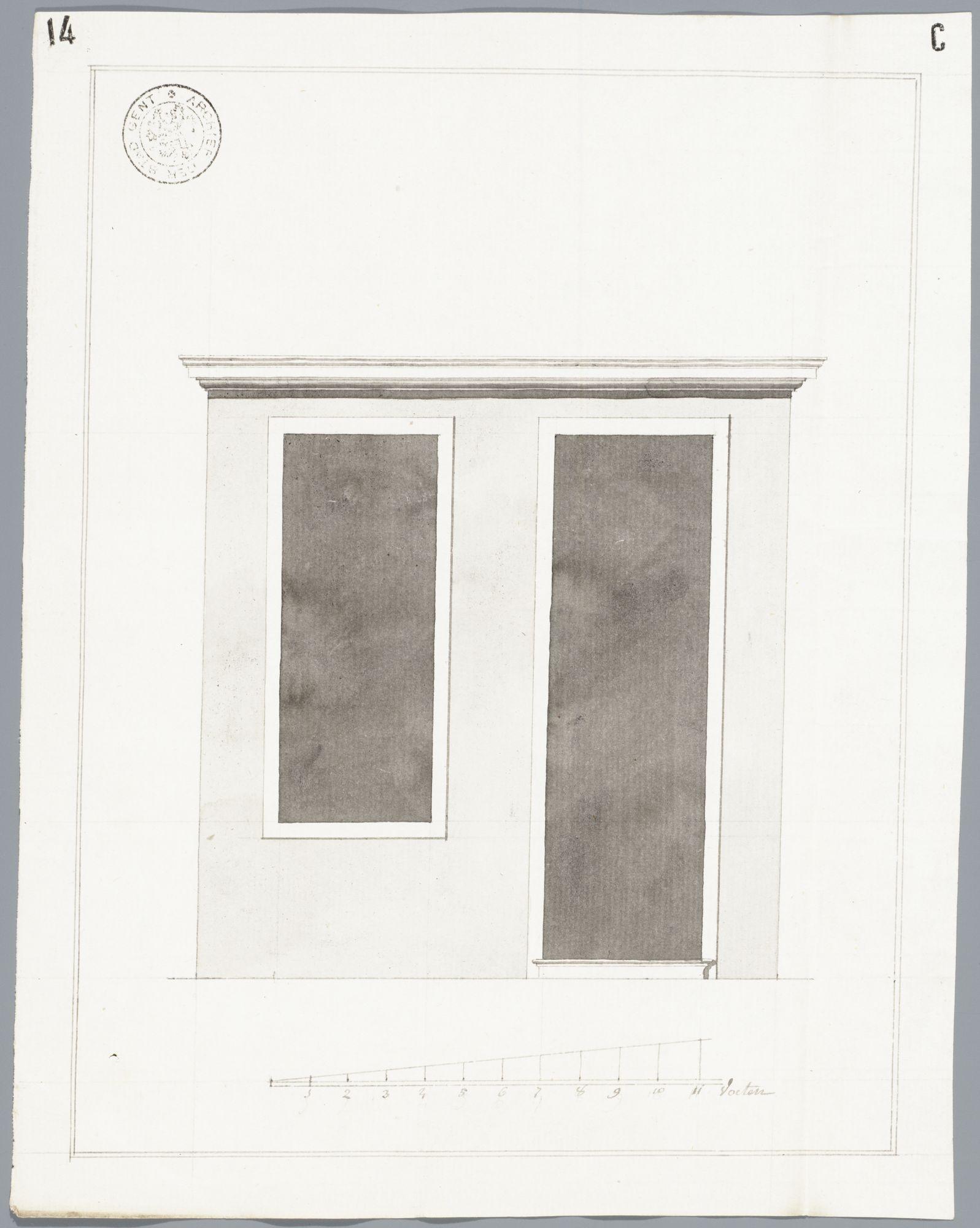 Gent: Ajuinlei, 1785: opstand deur- en vensteropeningen