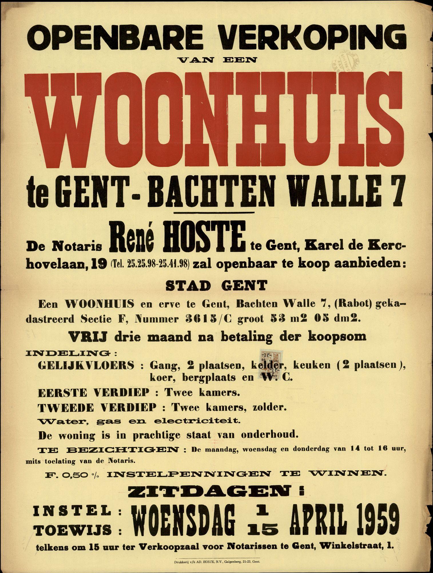 Openbare verkoop van een woonhuis te Gent, Bachten Walle, nr.7, Gent, 15 april 1959