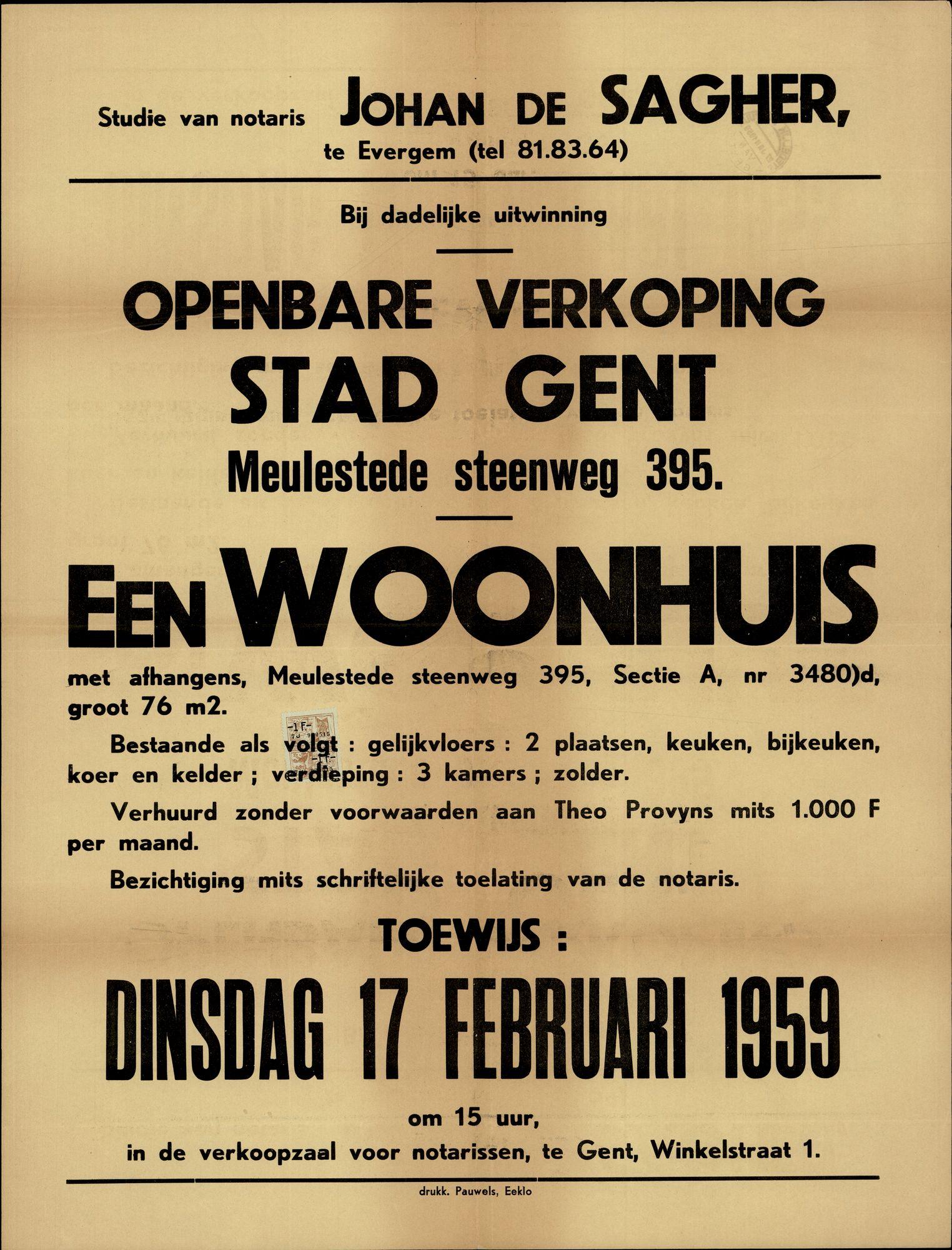 Openbare verkoop Stad Gent, Meulestede steenweg, nr.395 (Meulesteedsesteenweg), Gent, 17 februari 1959