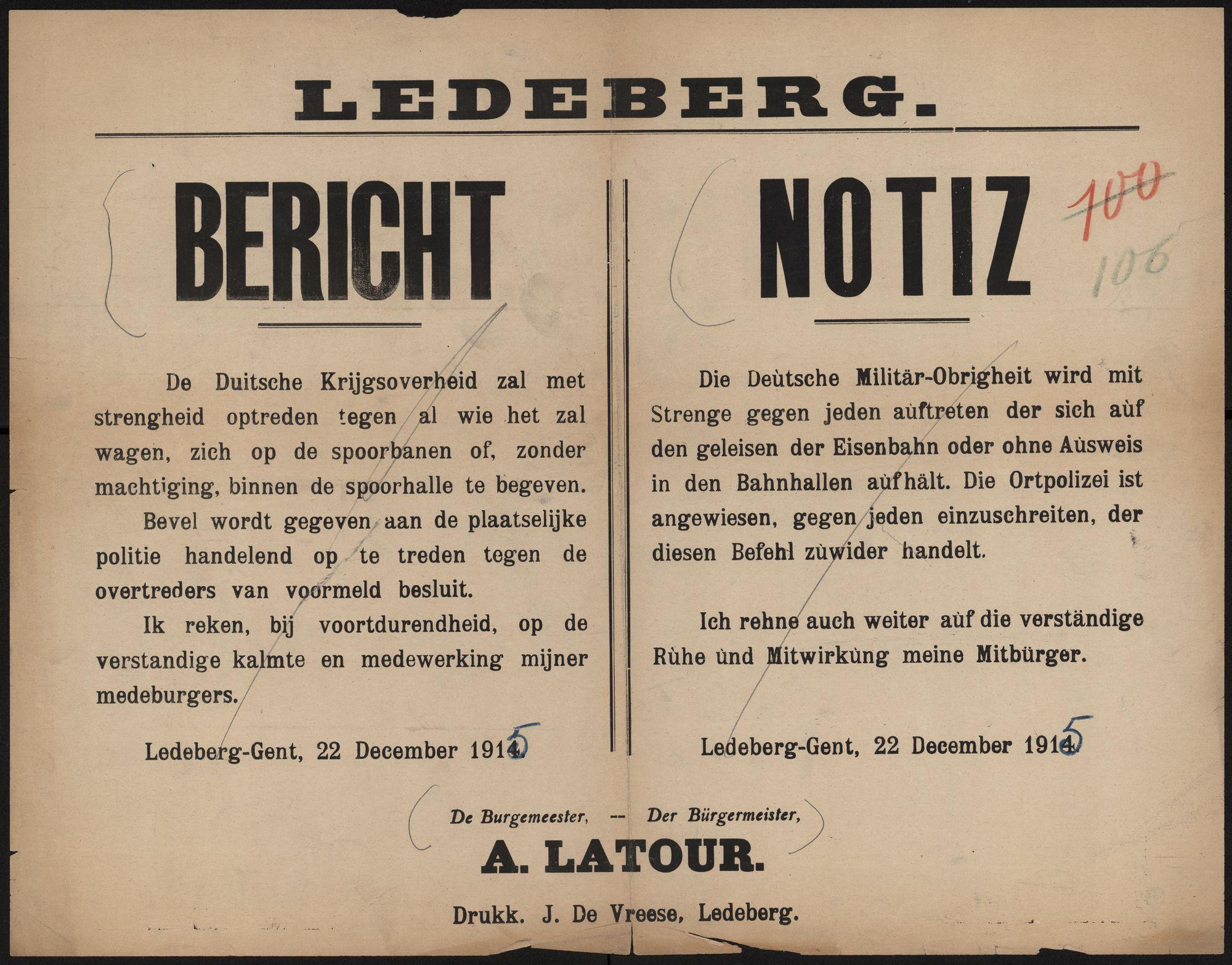 Ledeberg, Bericht | Ledeberg, Notiz.