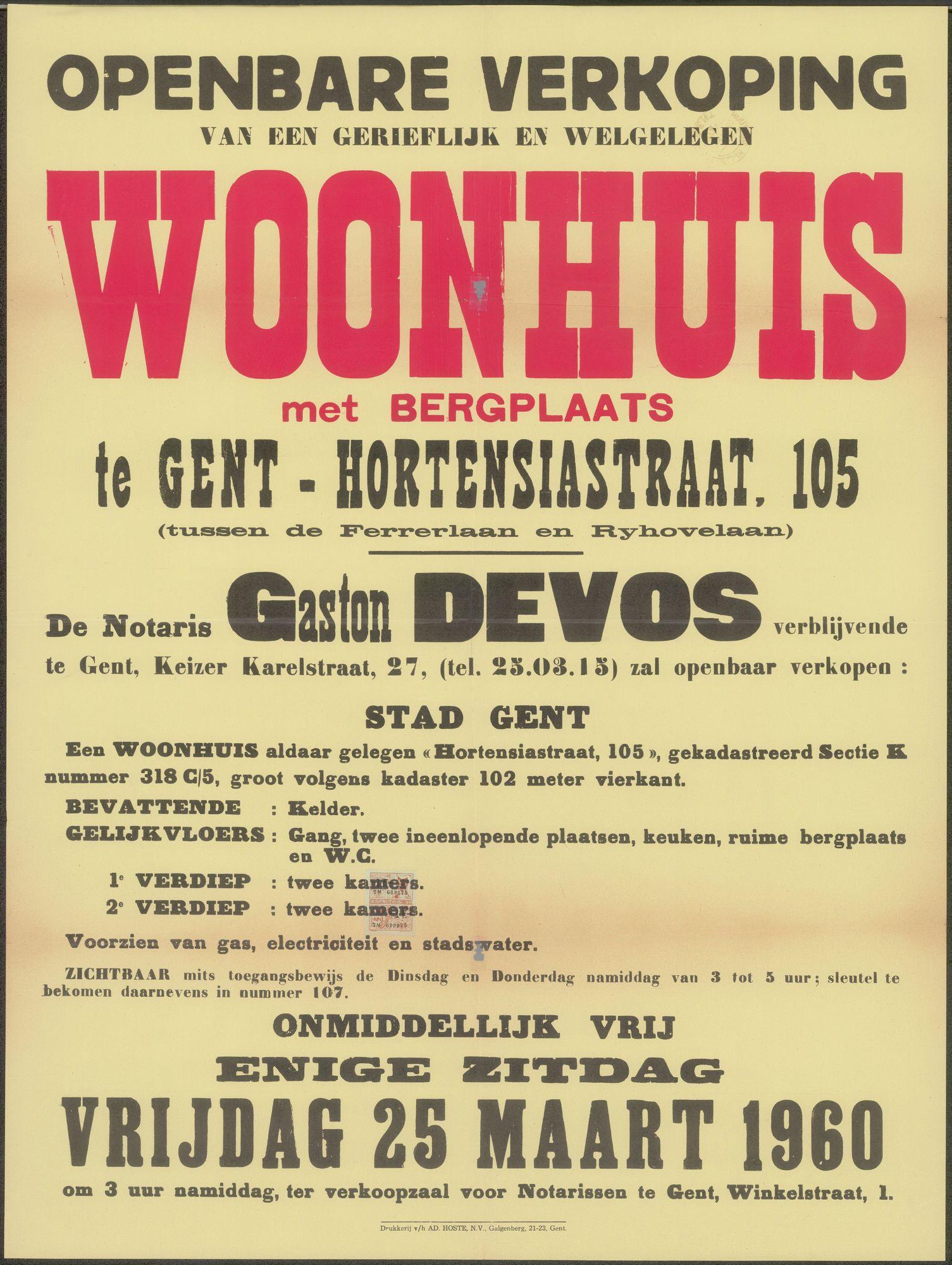 Openbare verkoop van een gerieflijk en welgelegen woonhuis met bergplaats te Gent - Hortensiastraat, nr.105 (tussen de Ferrerlaan en Ryhovelaan), Gent,  25 maart 1960