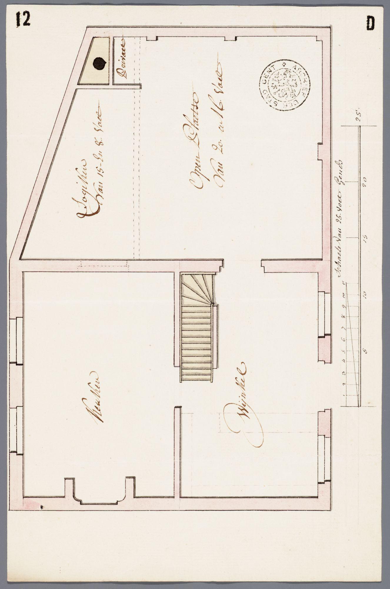 Gent: Buiten de Brugse Poort, 1772: plattegrond huis