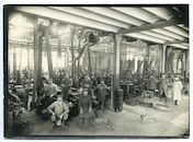 Gentbrugge: Kerkstraat: Drahtfabrik (draadtrekkerij voor het Duitse leger, Puntfabriek)