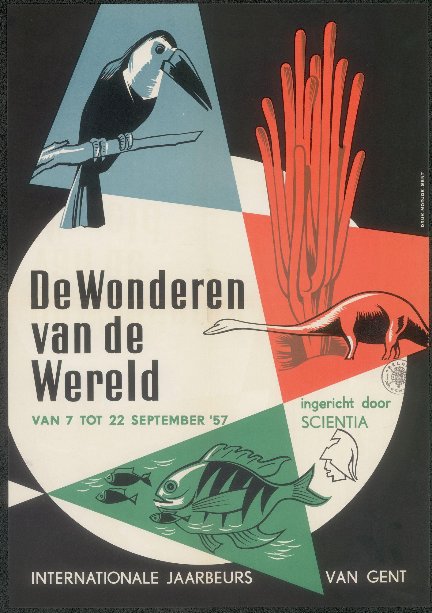 Tentoonstelling De Wonderen van de wereld, ingericht door Scientia, Internationale Jaarbeurs van Gent, Gent, 7 september - 22 september 1957