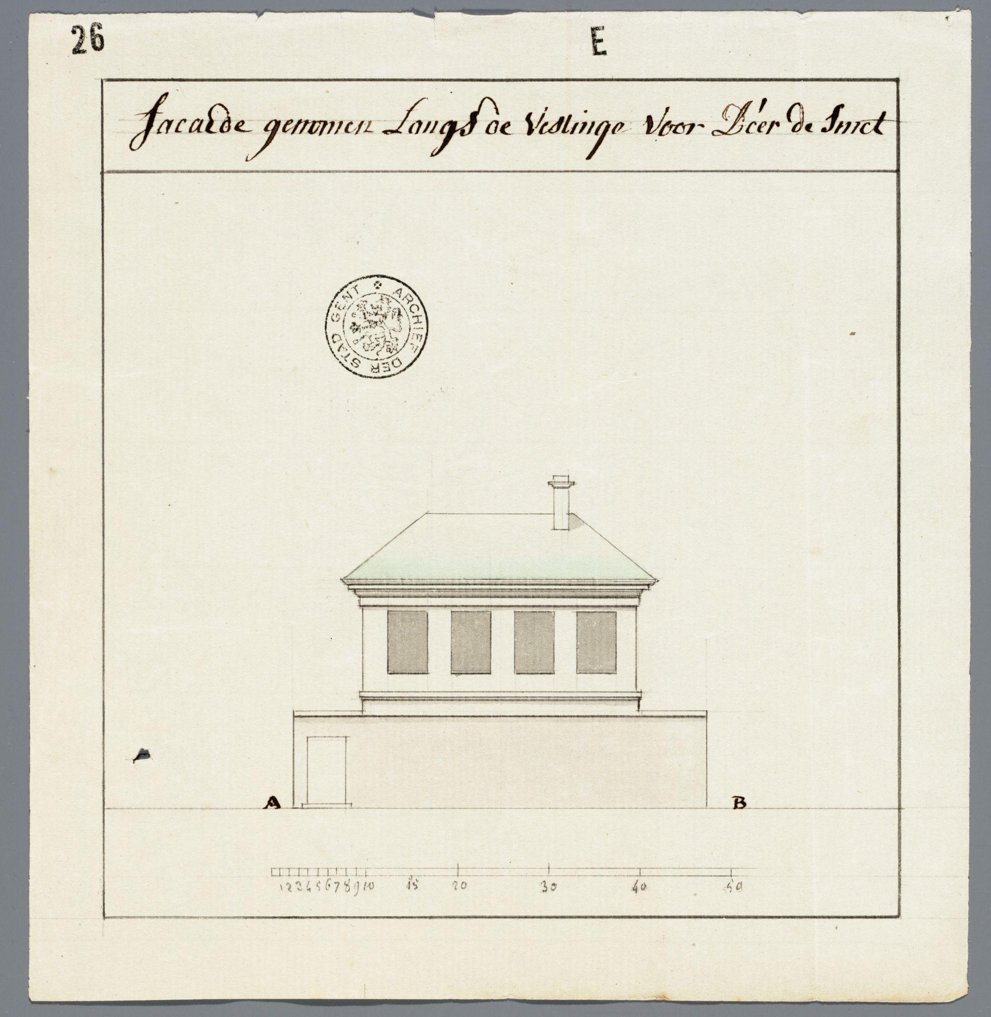 Gent: Akkerstraat, 1793: opstand gevel met zicht op vesting, voor huis van heer De Smet