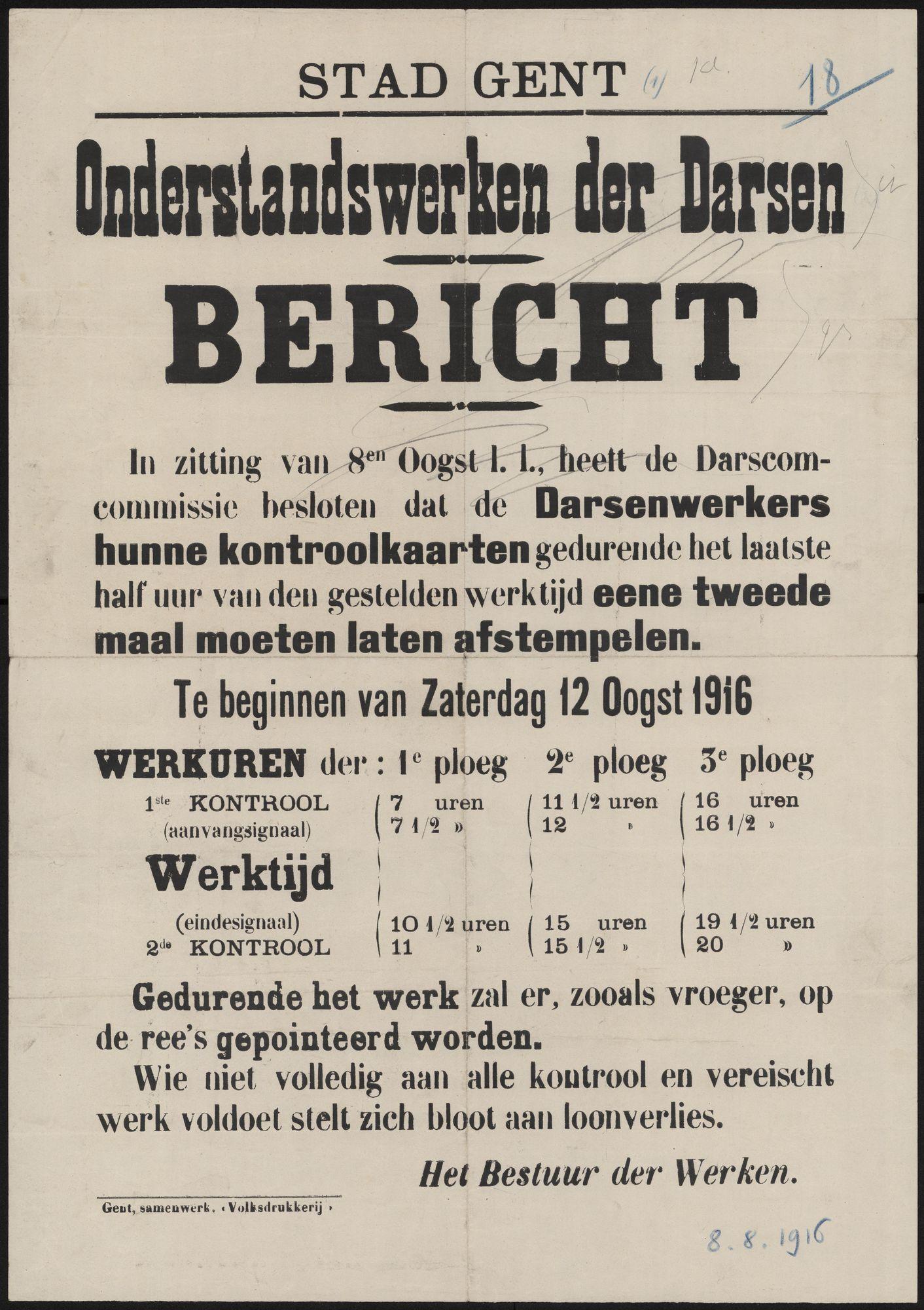 Stad Gent, Onderstandswerken der Darsen, Bericht.