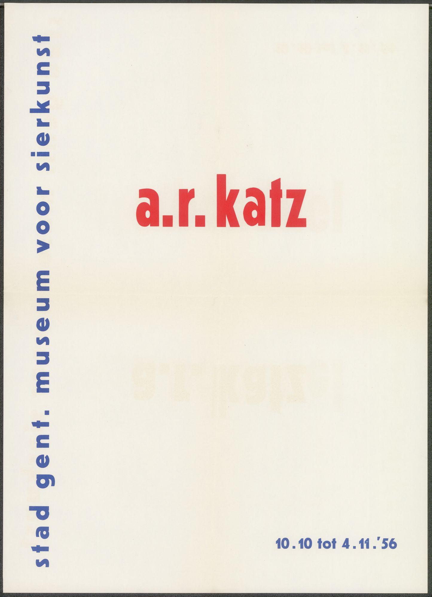 Tentoonstelling A.R. Katz, Stad Gent, Museum voor Sierkunst, Gent, 10 oktober - 4 november 1956
