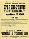 Openbare verkoop van een opbrengsthuis te Gent, Tolhuislaan, nr.77, Gent, 18 februari 1959