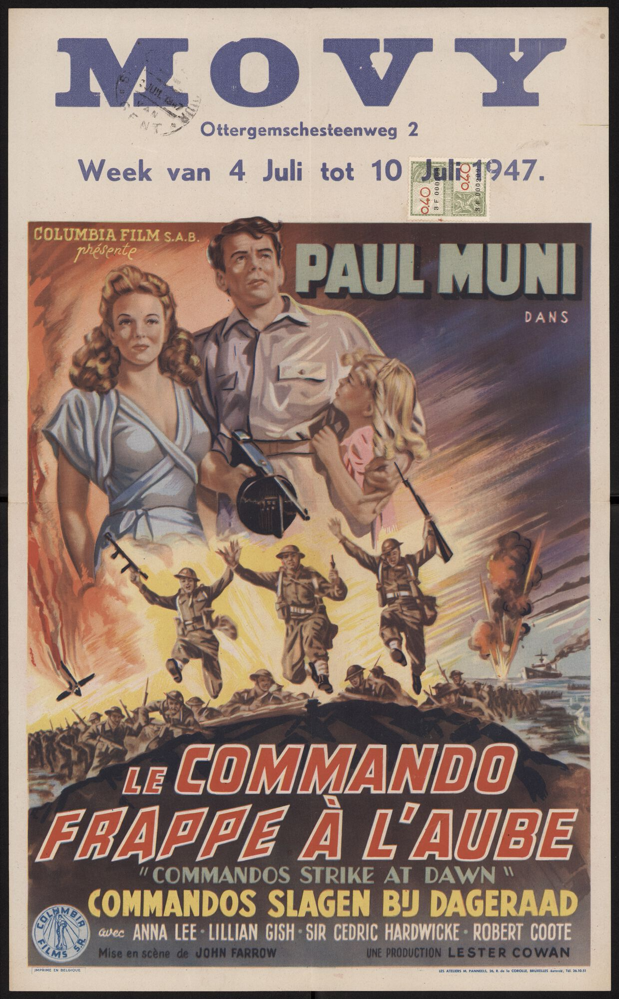 Commandos Strike at Dawn   Le commando frappe à l'aube   Commandos slagen bij dageraad, Movy, Gent, 4 - 10 juli 1947