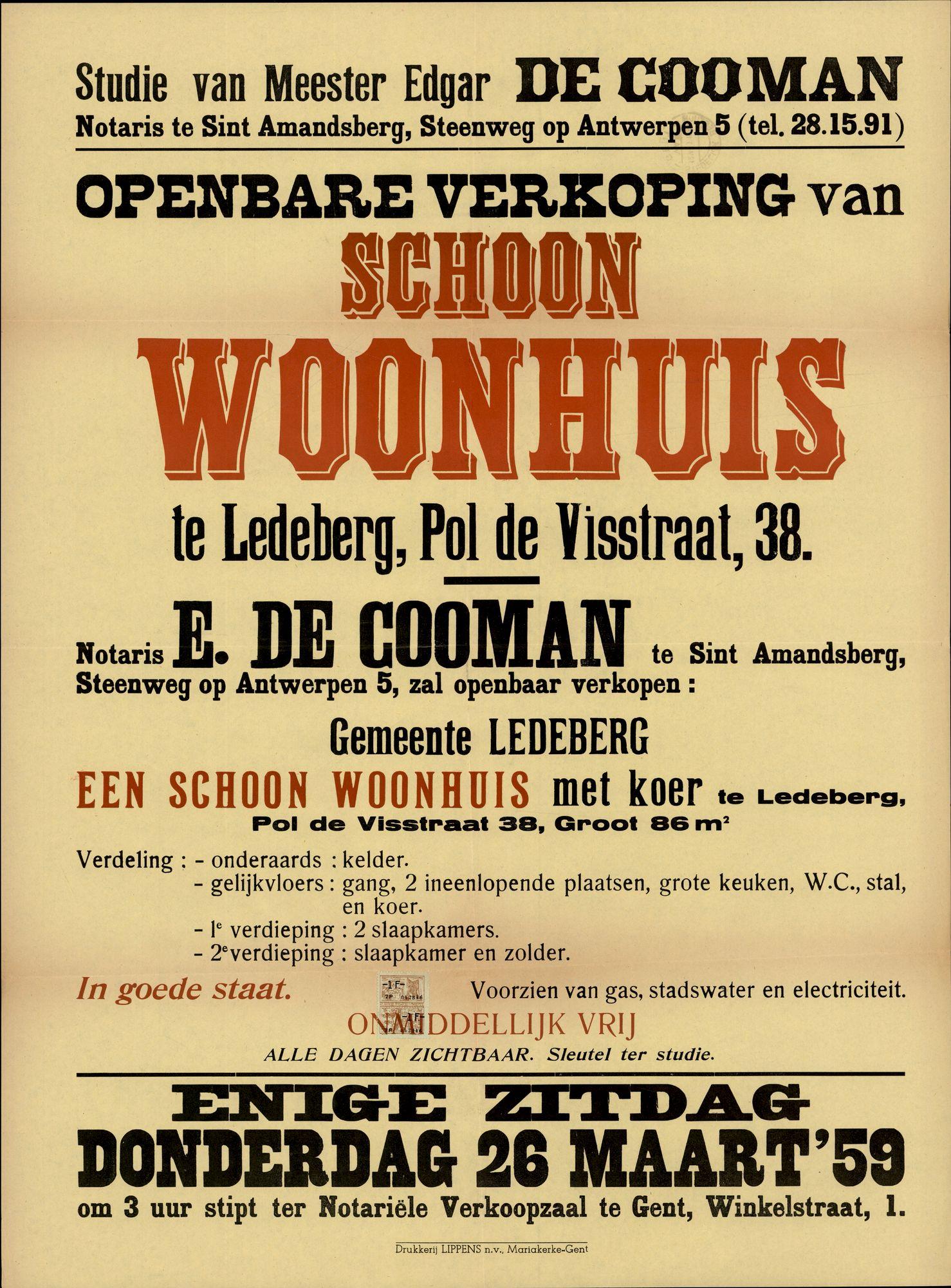 Openbare verkoop van schoon woonhuis te Ledeberg, Pol de Visstraat, nr.38, Gent, 26 maart 1959