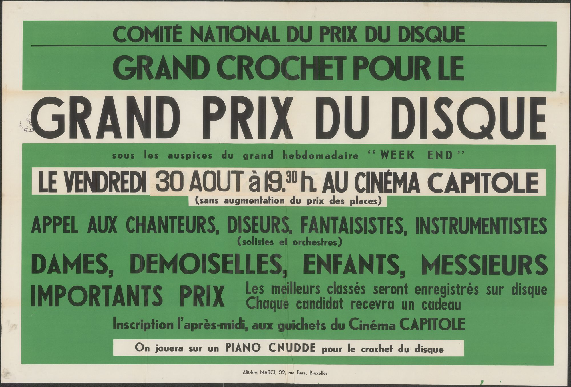 """Grand crochet pour le grand prix du disque, sous les auspices du grand hebdomadaire """"Week End"""", Comité National Du Prix Du Disque, Cinéma Capitole, 30 augustus 1940"""