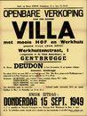"""Openbare verkoop van een schone villa met mooie hof en werkhuis genaamd Villa """"Mon Rêve"""", Werkhuizenstraat, nr.1 te Gentbrugge, Gent, 15 september 1949"""