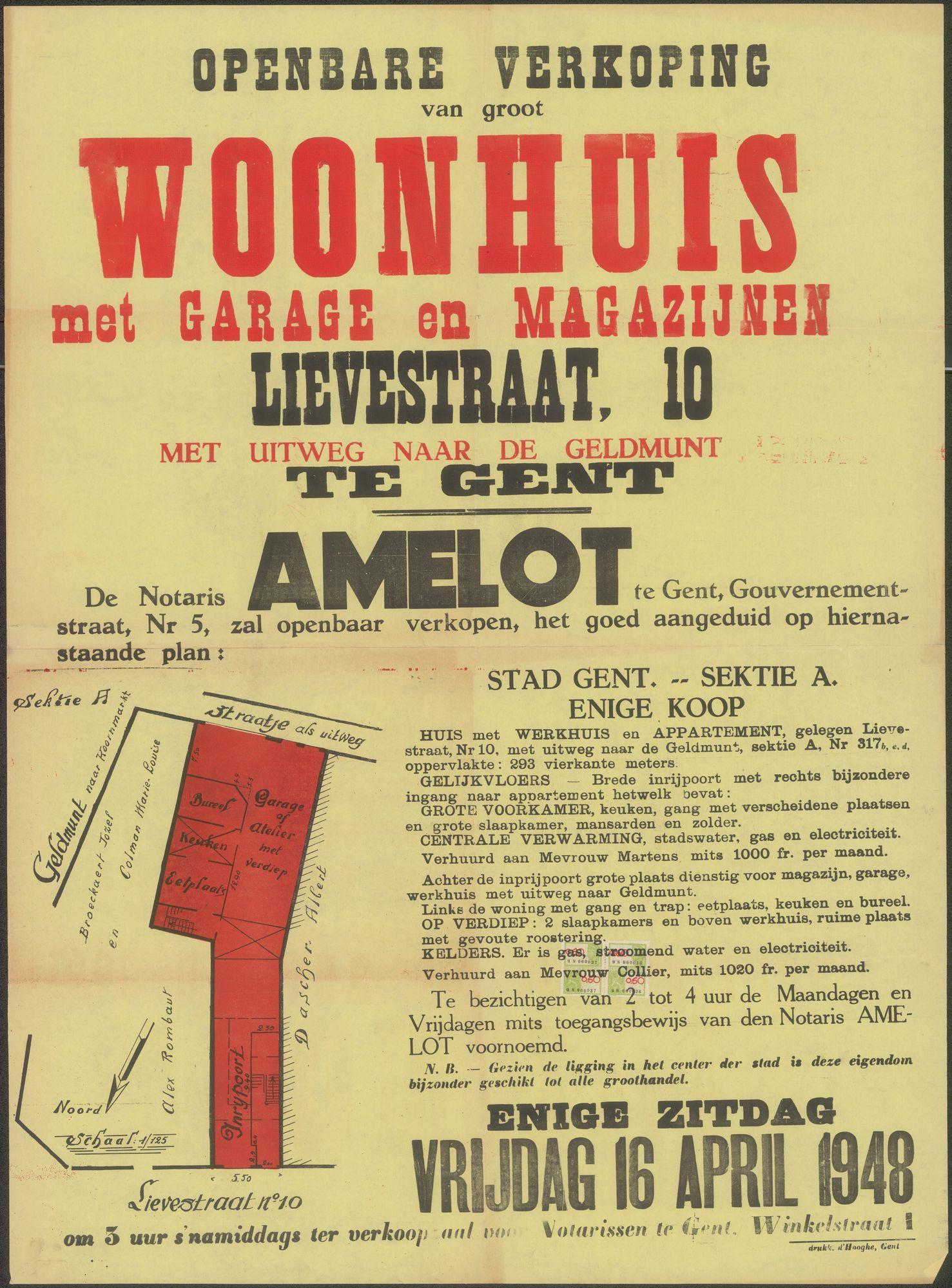 Openbare verkoop van groot woonhuis met garage en magazijnen, Lievestraat, nr.10, met uitweg naar de Geldmunt  te Gent, Gent, 16 april 1948