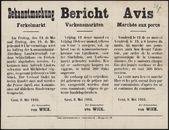 Bekanntmachung, Ferkelmarkt  Bericht, Varkensmarkten   Avis, Marchés aux porcs.
