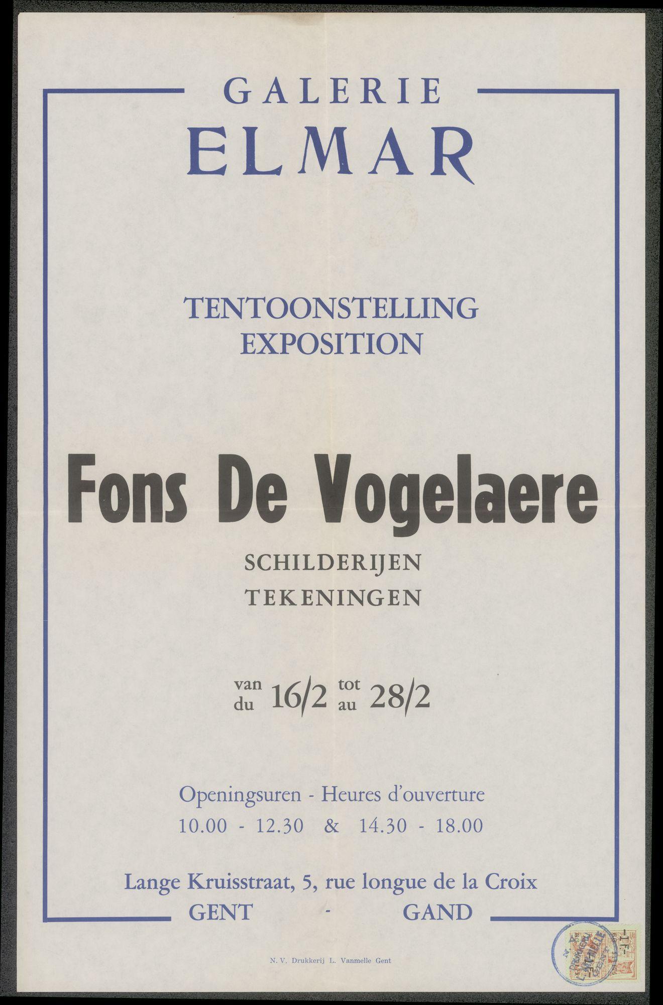 Tentoonstelling Fons De Vogelaere: schilderijen, tekeningen, Galerie Elmar, Lange Kruisstraat 5, Gent, 16 februari - 28 februari 1958