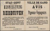 Stad Gent, Kennisgeving, Reisduiven | Ville de Gand, Avis, Pigeons-Voyageurs.