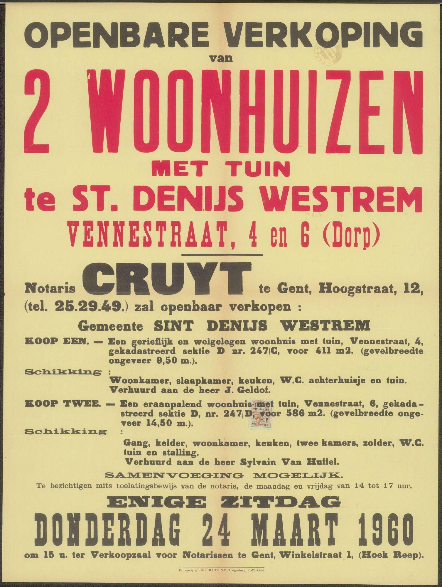 Openbare verkoop van 2 woonhuizen met tuin te Sint-Denijs-Westrem, Vennestraat, nrs.4 en 6 (Dorp), Gent, 24 maart 1960