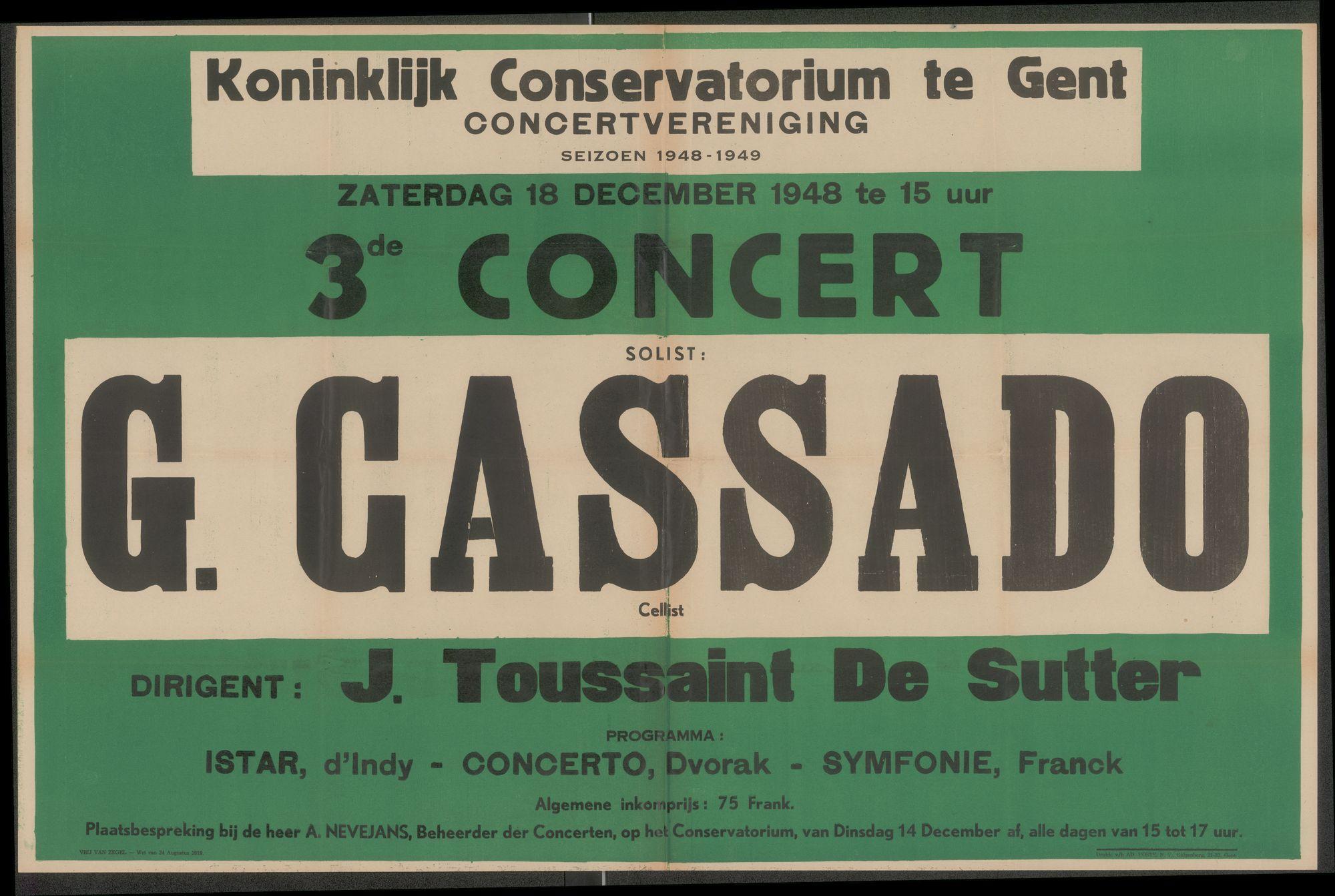 3de concert, Seizoen 1948-1949, Solist G. Cassado, Cellist Dirigent: J. Toussaint De Sutter, Koninklijk Conservatorium te Gent, Concertvereniging, Gent, 1948