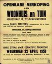 Openbare verkoop van woonhuis en tuin, Kerkstraat, nr.19, Sint-Denijs-Westrem, Gent, 22 april 1959