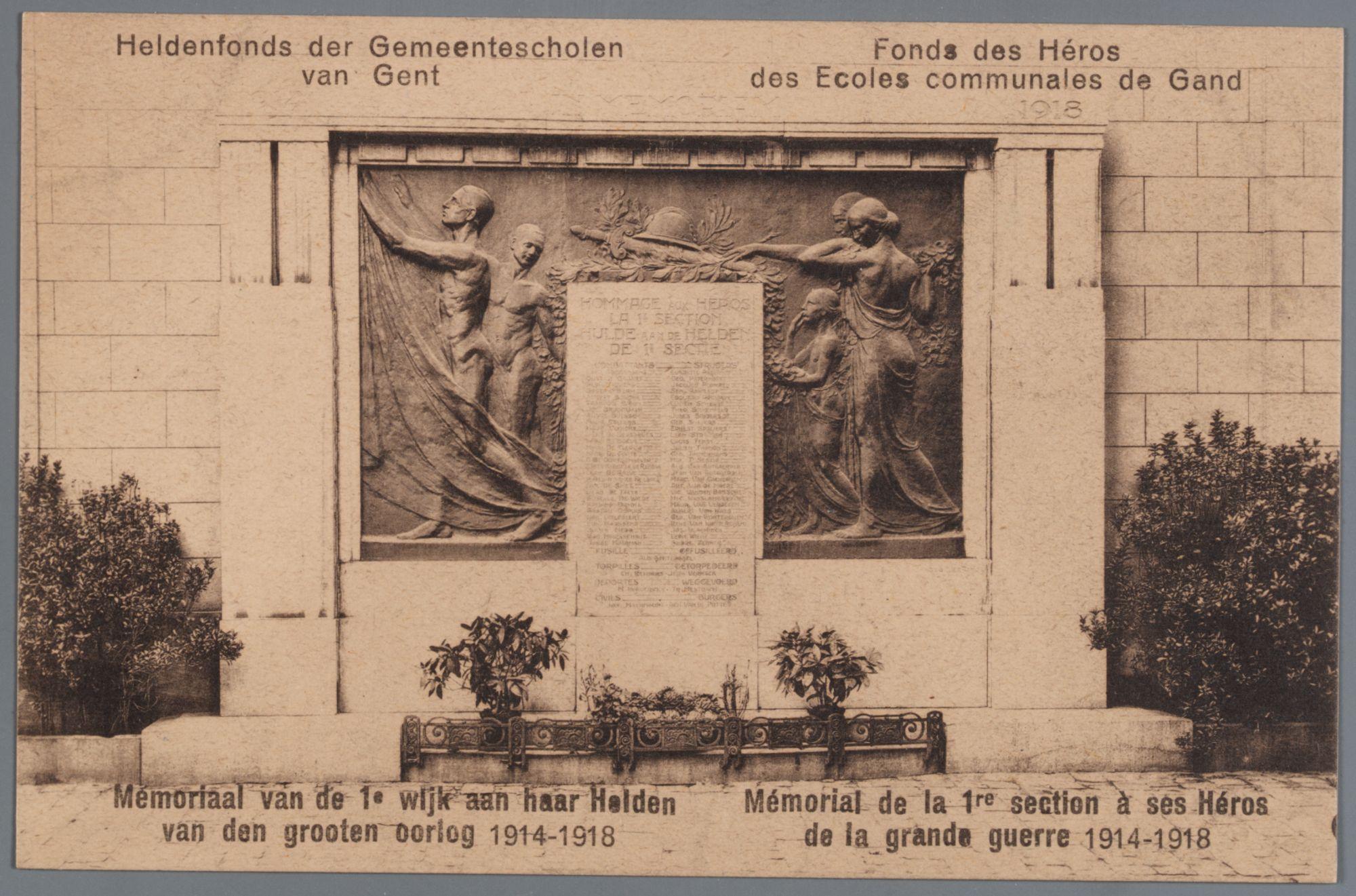Gent: oorlogsmonument Wereldoorlog I van de 1ste wijk in de Sint-Niklaasstraat