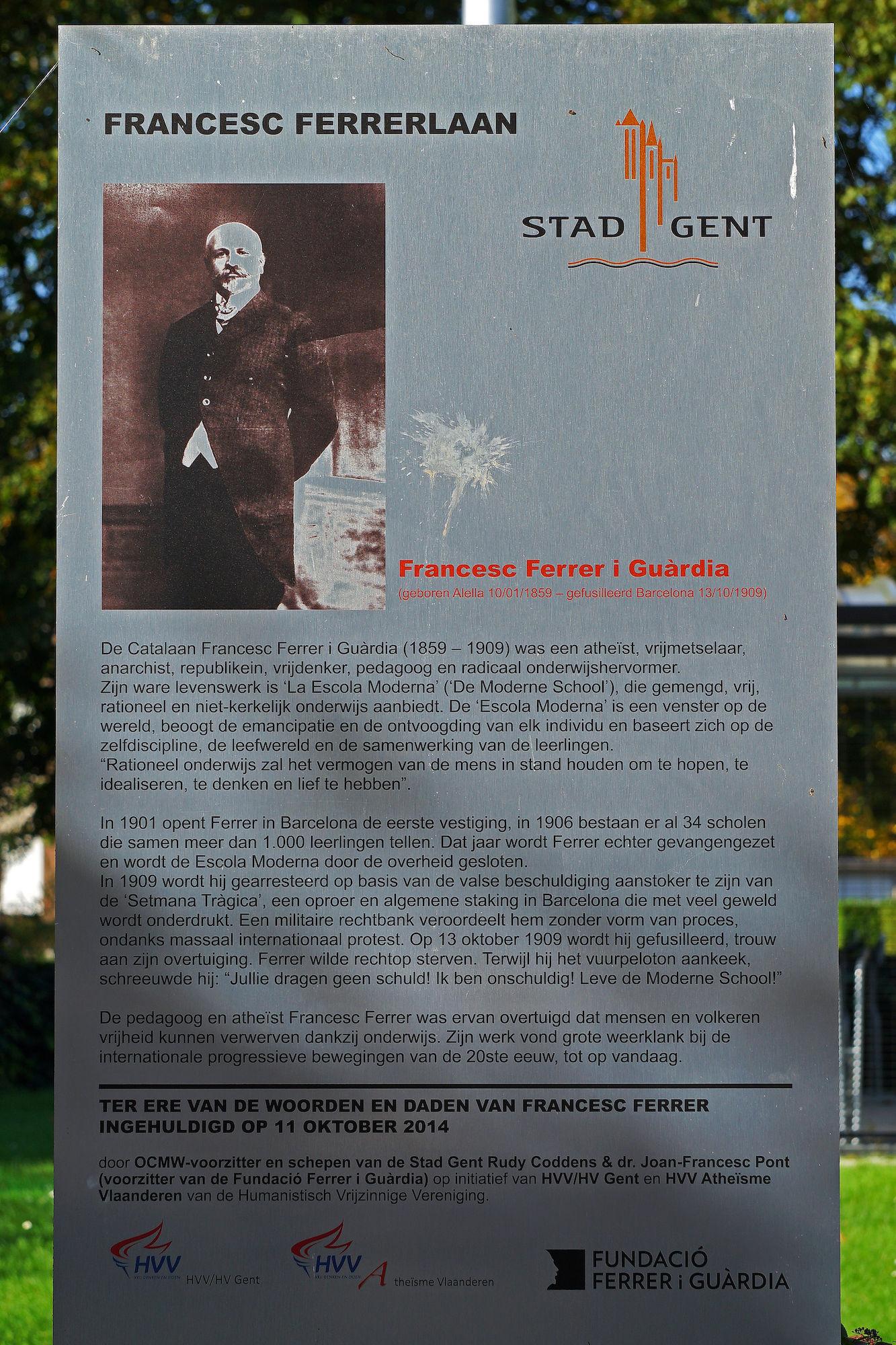 Gedenkplaat - Francisco Ferrer