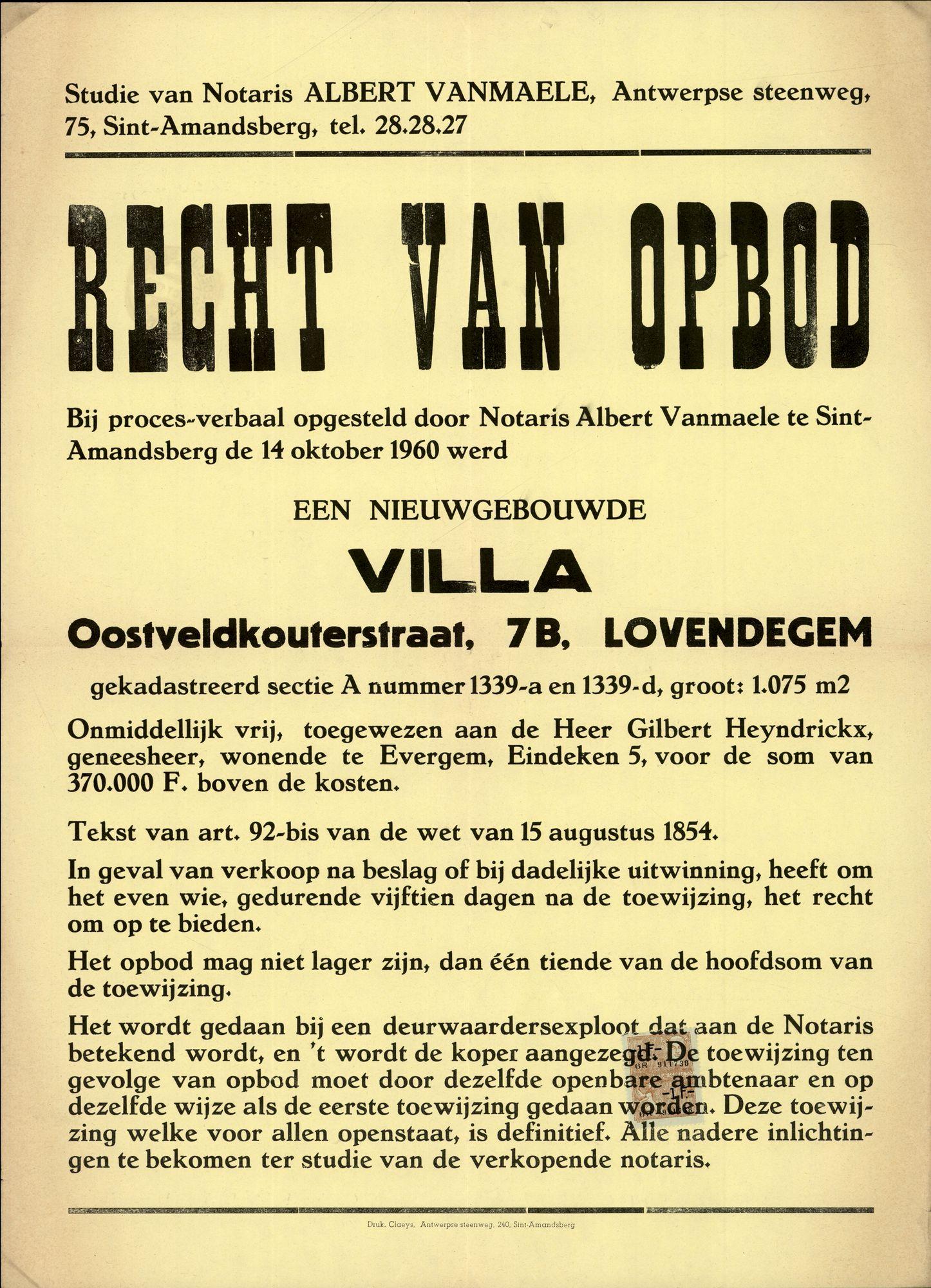 Openbare verkoop, een nieuwgebouwde villa, Oostveldkouterstraat, nr.7B, Lovendegem