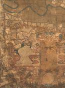 De Schelde, scheiding tussen Zwijnaarde (boven) en Merelbeke (Flora), en een stukje Melle (onder), deels bedekt met cartouches en Vrouwe Justitia: kaartdeel 15 (XI) van de Kaart van Gent en het Vrije van Gent afgebakend door de Rietgracht, Jacques Horenbault, 1619