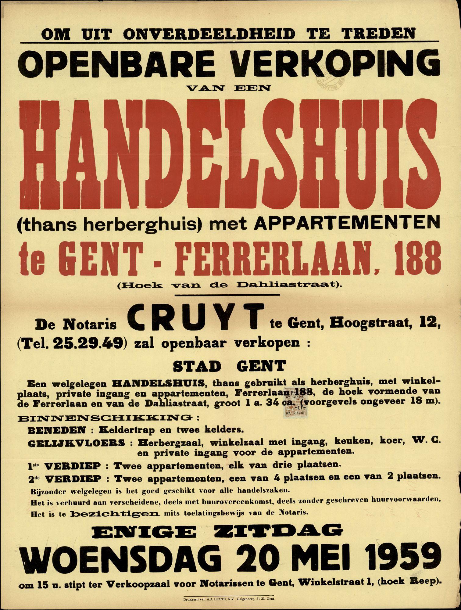 Openbare verkoop van een handelshuis (thans herberghuis) met appartementen te Gent, Ferrerlaan, nr.188, Gent, 20 mei 1959