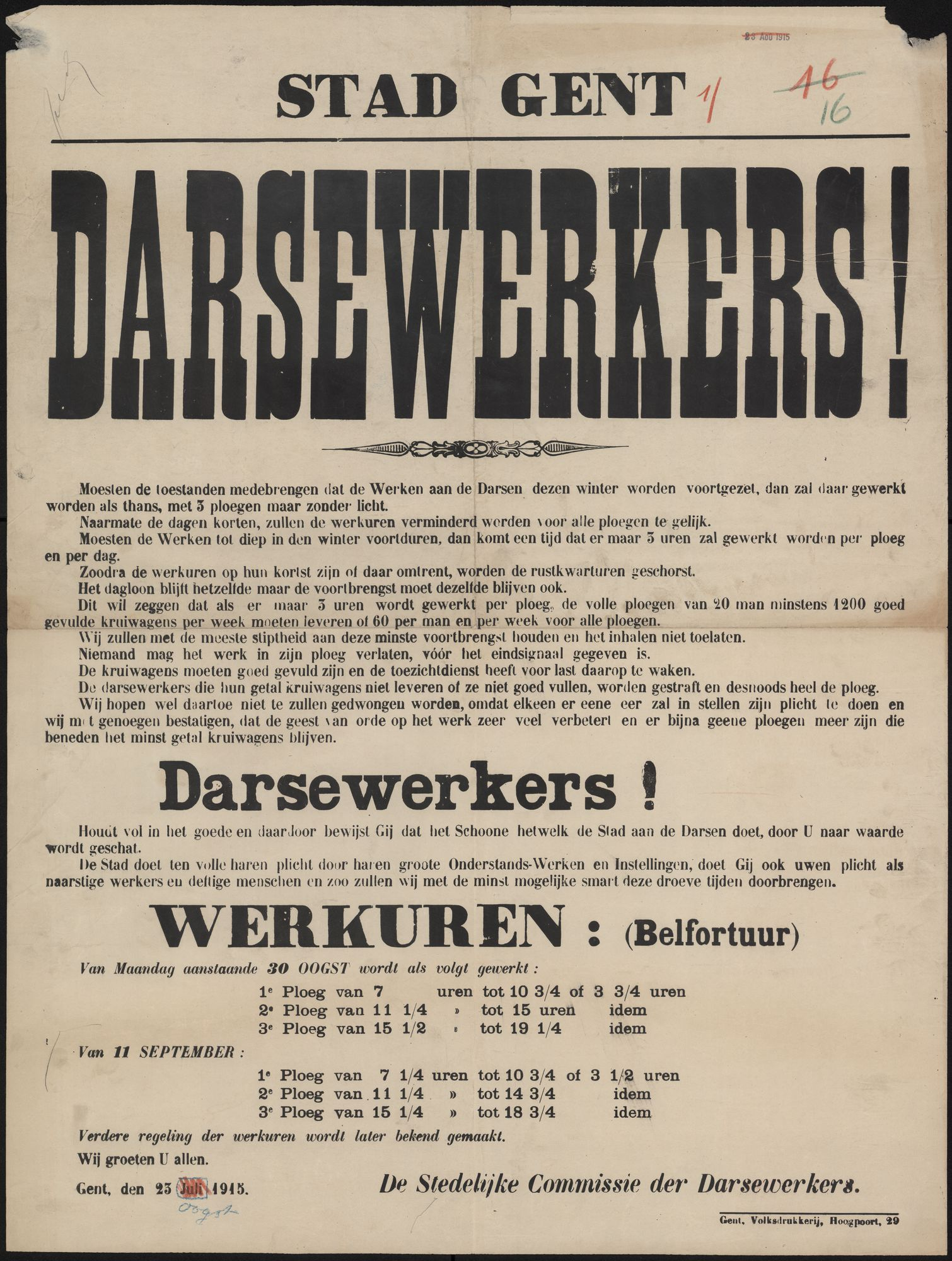 Stad Gent, Darsewerkers!