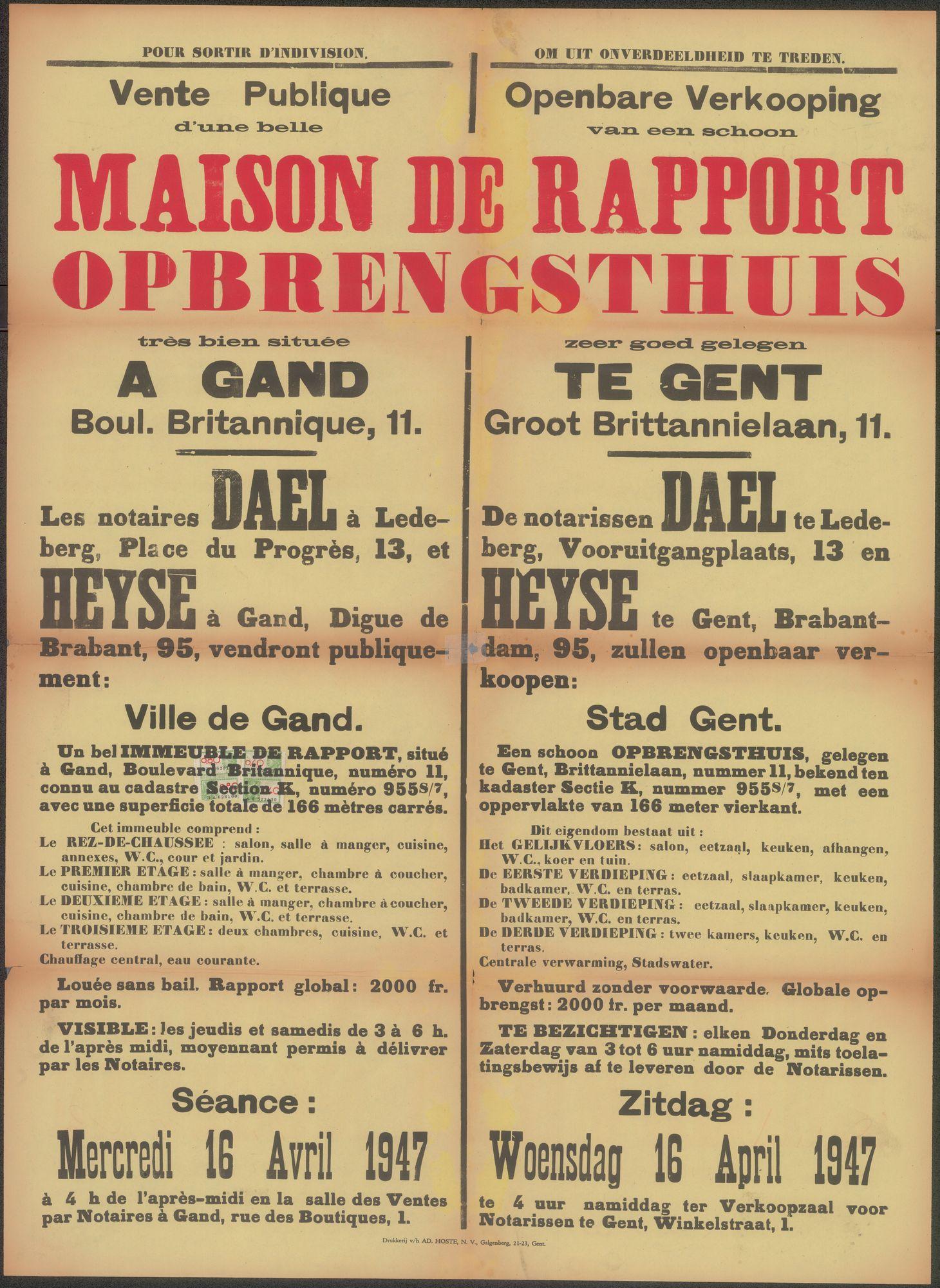 Openbare verkoop van een schoon opbrengsthuis zeer goed gelegen te Gent, Groot Brittannielaan, nr.11, Gent, 16 april 1947