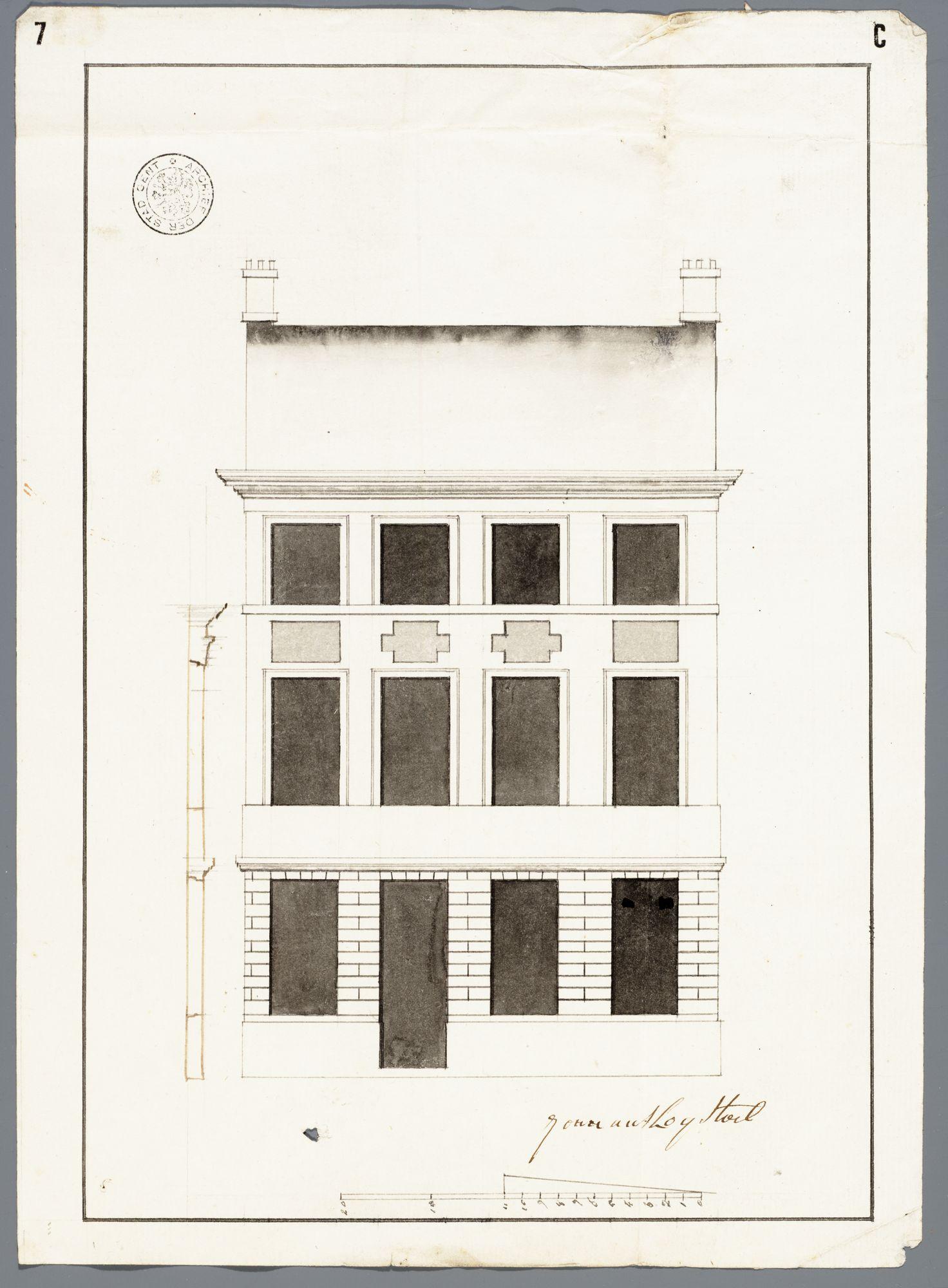 Gent: Annonciadenstraat, 1792: opstand en verticale doorsnede voorgevel
