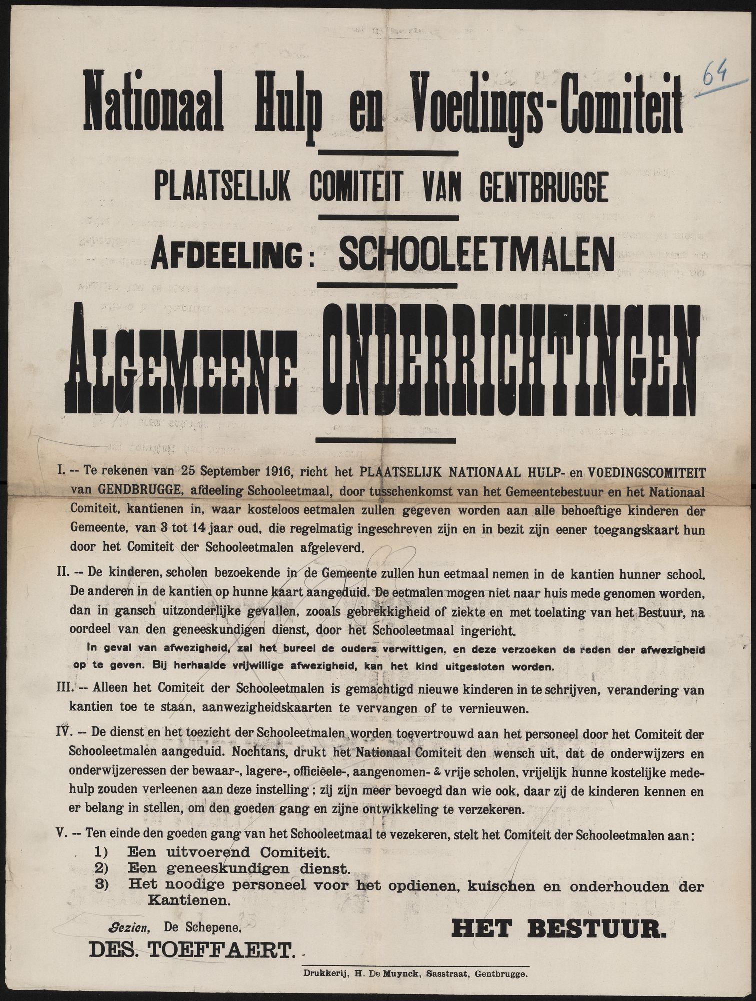 Nationaal Hulp- en Voedings-Comiteit, Plaatselijk Comiteit van Gentbrugge, Afdeeling: Schooleetmalen, Algemeene onderrichtingen.