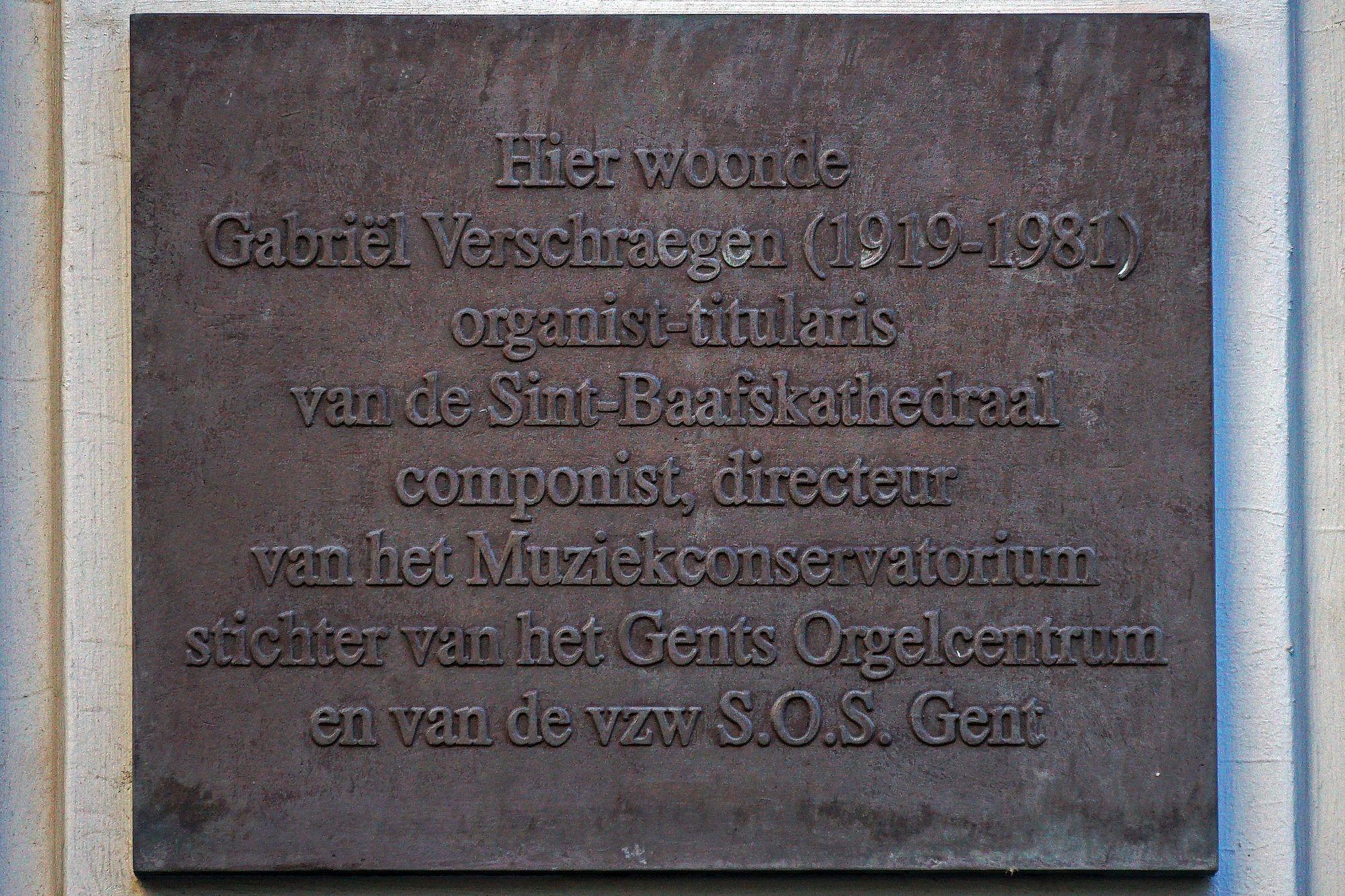 Gedenkplaat - Gabriël Verschraegen