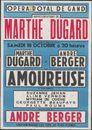 Représentation de Marthe Dugard dans Amoureuse, Opera Royal de Gand (Koninklijke Opera), Gent, 18 oktober 1947