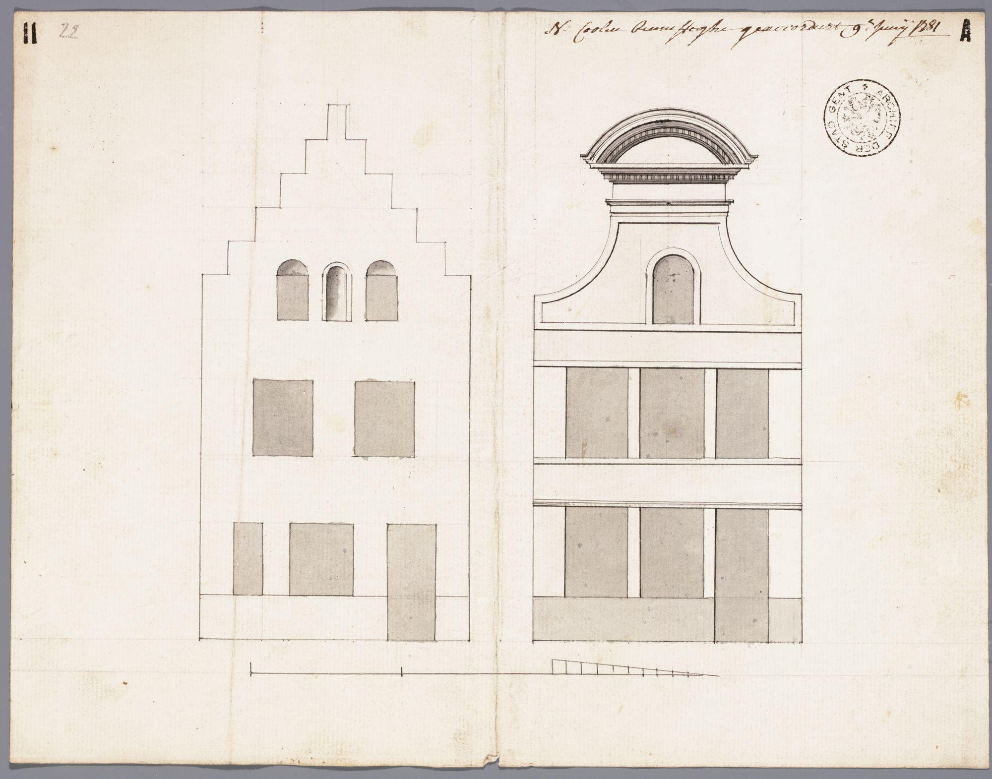 Gent: Bennesteeg, 1781: opstand voorgevel: oude en nieuwe toestand
