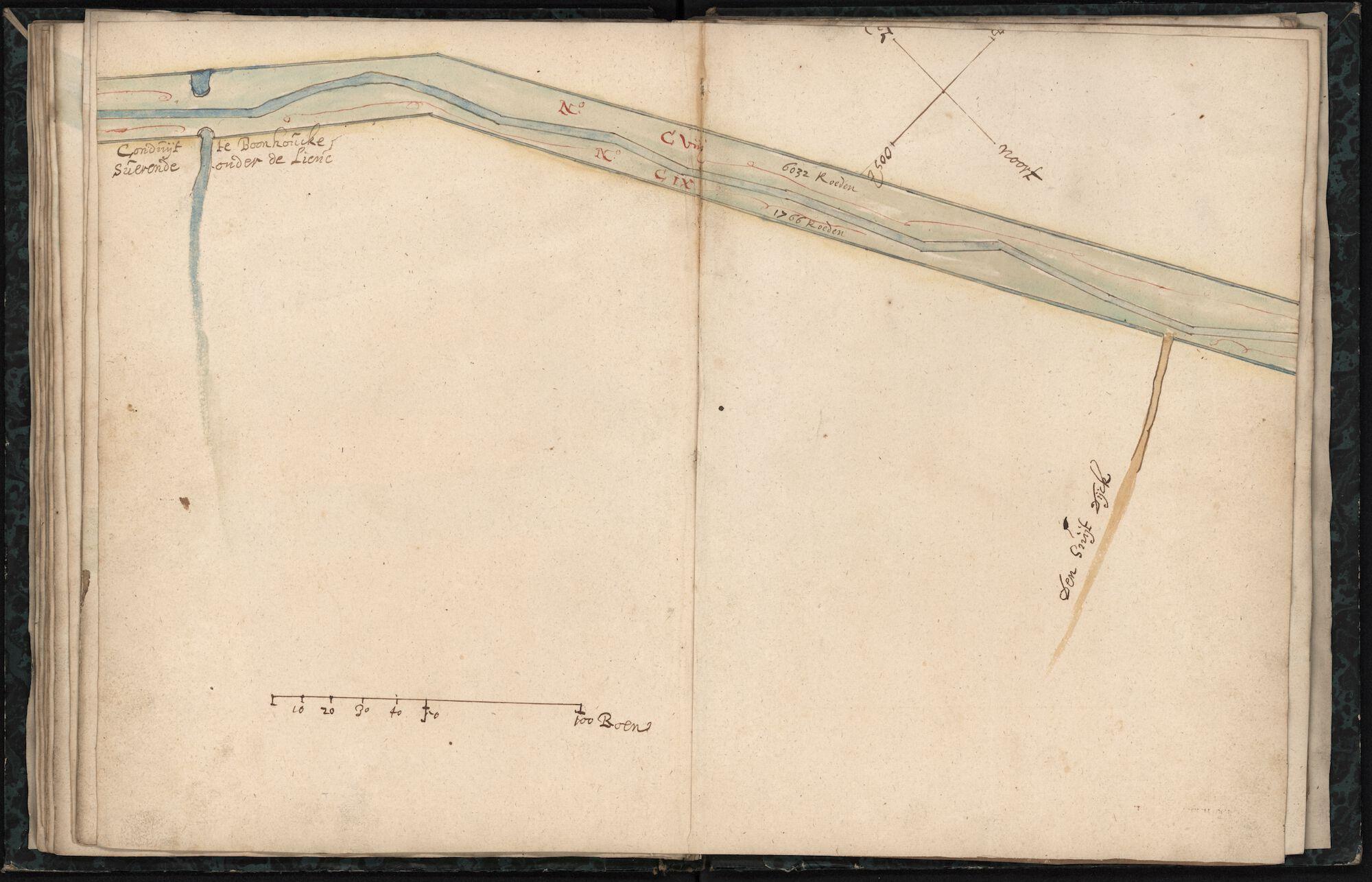 Kaartenboek van de Lieve tussen Damme en de brug van Raveschoot, voorbij Balgerhoeke, Anoniem, 17de eeuw