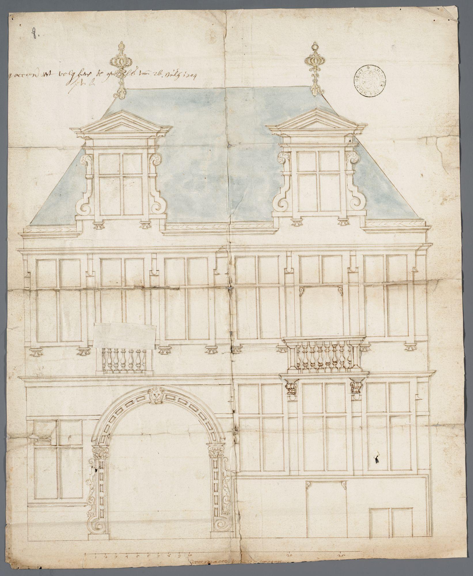 Gent: Predikherenlei, 1704: opstand gevel