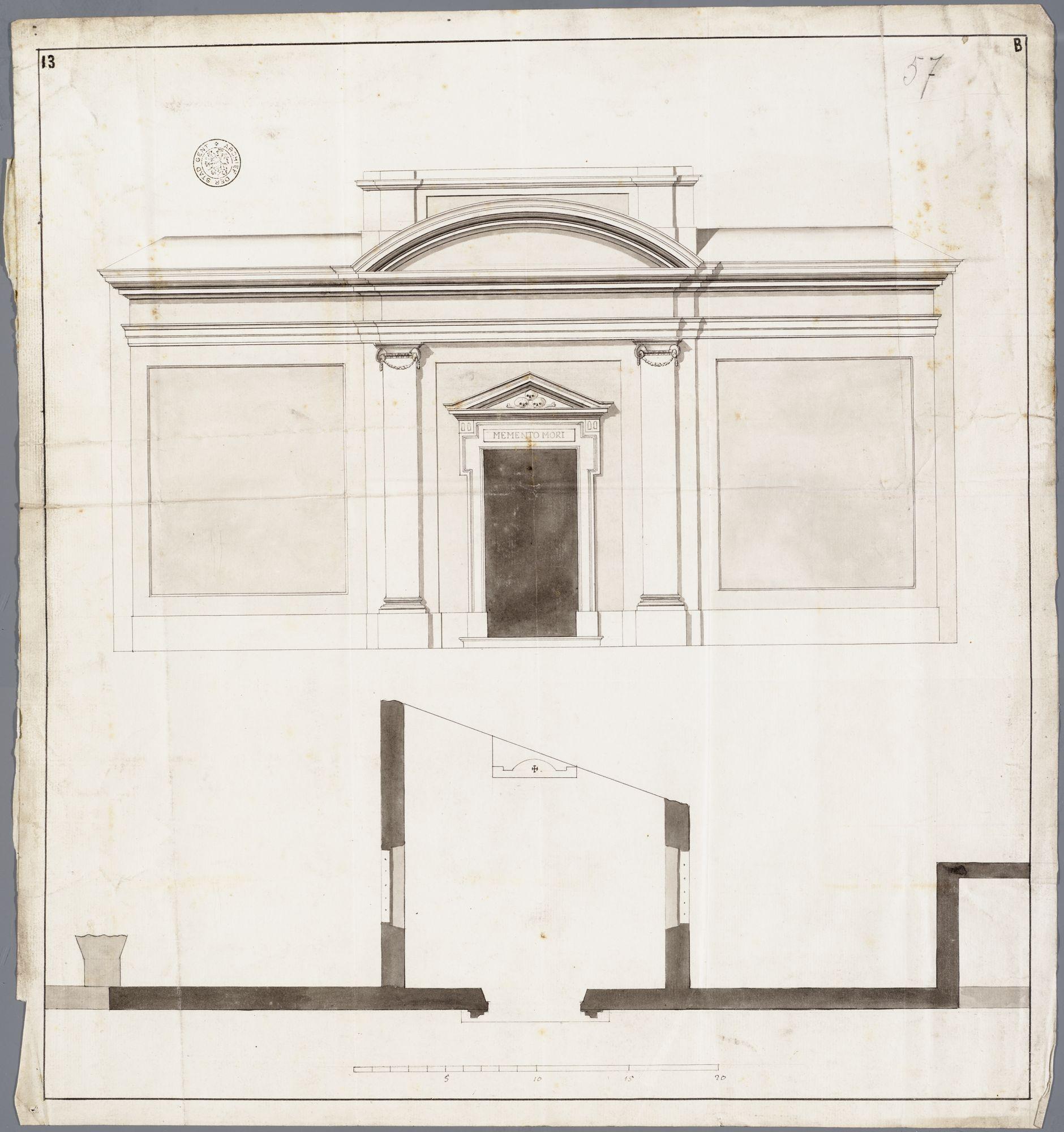 Gent: Sint-Baafskerkhof (nu Sint-Baafsplein - Kapittelstraat), kapel / lijkenhuis / mortuarium: 1784: opstand en horizontale doorsnede voorgevel