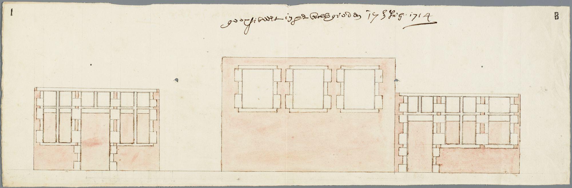 Gent: Baaisteeg, 1714: opstand gevelfragmenten