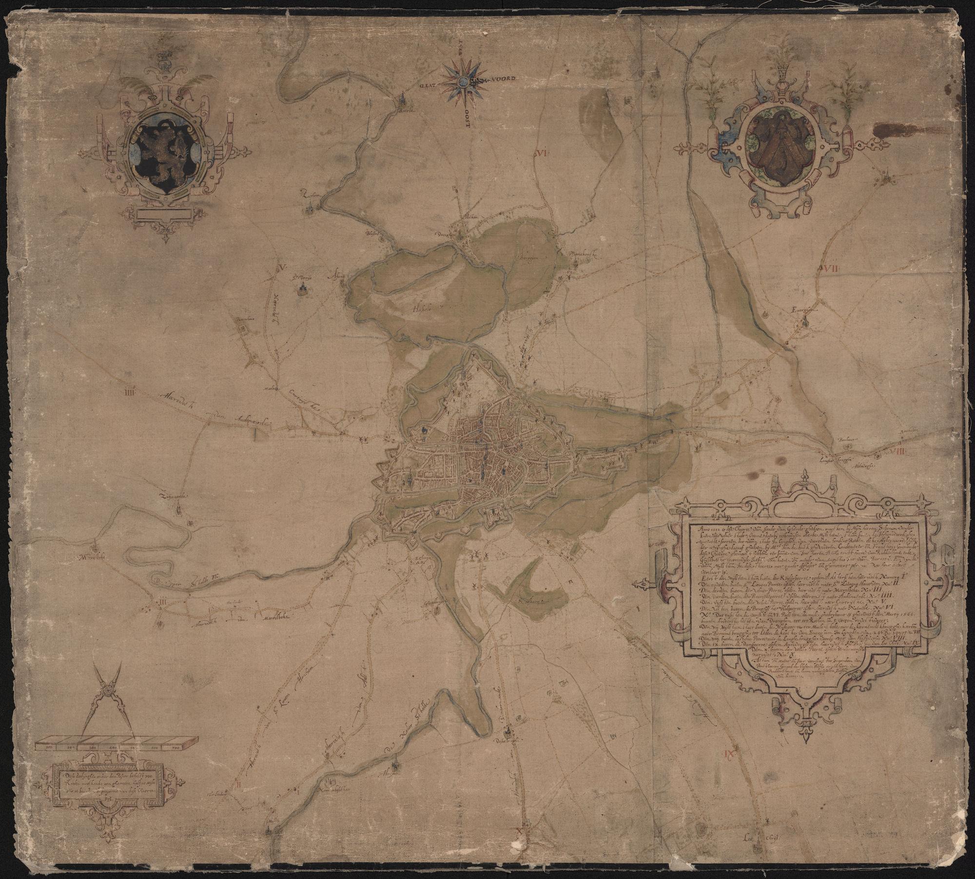 Kaart van Gent en omgeving tot aan de mijlpalen, Jan de Buck en François Horenbault, 1592
