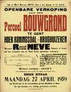 Openbare verkoop van een perceel bouwgrond te Gent, Hoek Koningsdal  - Brughuizeken (nabij Rooigemlaan), Gent, 27 april 1959