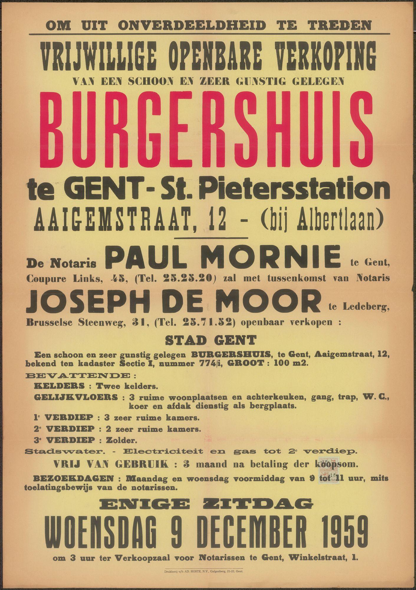 Vrijwillige openbare verkoop van een schoon en zeer gunstig gelegen burgershuis te Gent - St. Pietersstation, Aaigemstraat, nr.12 (bij Albertlaan), Gent, 9 december 1959