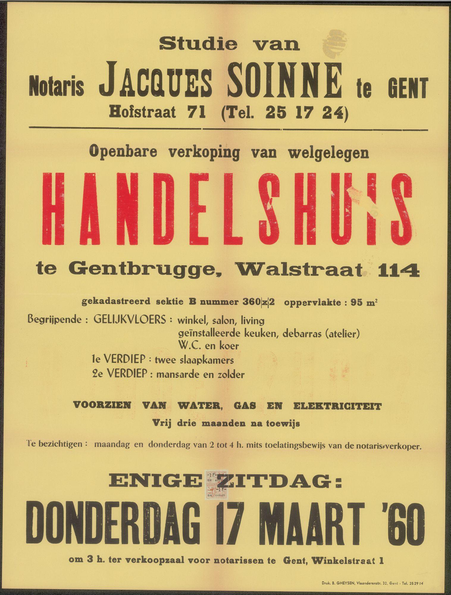 Openbare verkoop van welgelegen handelshuis te Gentbrugge, Walstraat, nr.114, Gent, 17 maart 1960