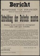 … | Bericht, Ministerie van Financiën, Beheer der Thesaurie en der Openbare Schuld, Intrekking der Duitsche munten, Betaling van het overschot der nederleggingen welke 1000 mark overtreffen