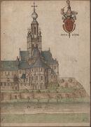 Gent: Muinkkaai en Sint-Pietersplein: de monnikenkerk van de Sint-Pietersabdij, gezien vanuit het oosten, gelegen aan de Schelde, met wapen en devies van de abt, voor 1580