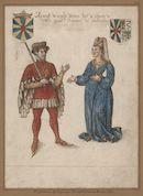 Gent: Sint-Pietersplein: kerk van de Sint-Pietersabdij: Sint-Laurentiuskapel: schilderij met de portretten van graaf Arnulf II (960-988) en gravin Suzanna van Lombardije (Rosala van Ivrea) (+1003), voor 1580