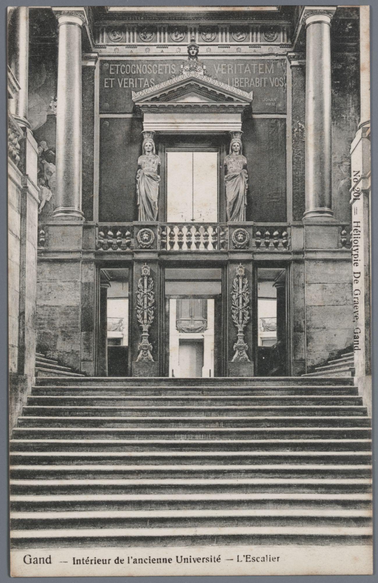 Gent: Voldersstraat: Aula Universiteit: binnenzicht