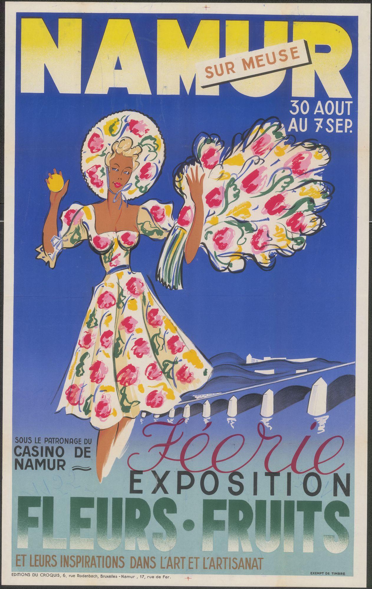 Féerie exposition Fleurs.Fruits et leurs inspirations dans l'Art et l'Artisanat, sous le patronage du Casino de Namur, Namur, 30 augustus au 7 september 1947